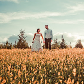 by Steven C. Bloom - Wedding Bride & Groom ( field, bride, groom )