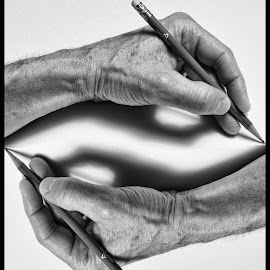 Drawing 101 by James Rudick - Uncategorized All Uncategorized ( hads, drawing, paradox, black and white, escher, sketch,  )