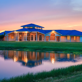 Take Me Home by Kathy Suttles - Buildings & Architecture Homes ( reflection, oklahoma home, country homel, sunset, golden hour )