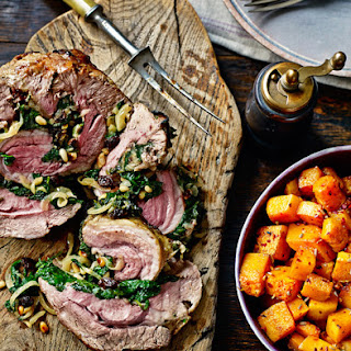Roast Shoulder Of Lamb With Spinach Stuffing
