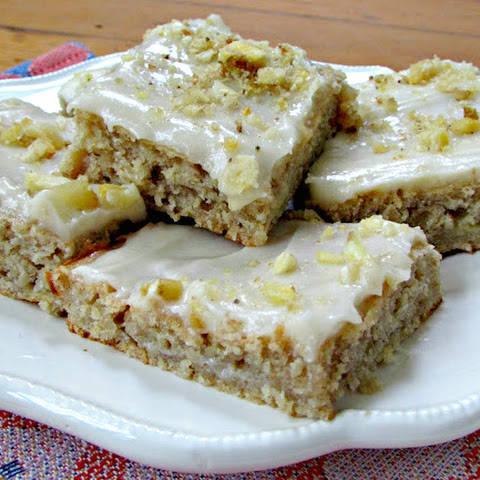 Greek Yogurt Banana Bars with Maple Cream Cheese Frosting