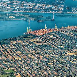 Landing in Montreal by Radu Eftimie - City,  Street & Park  Vistas ( montreal, aerial view,  )