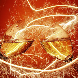 Two wine glasses and sparklers by Peter Salmon - Artistic Objects Glass ( glasses, trail, glass, sparkle, light )