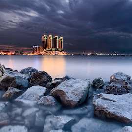 Cloudy Evening by Andrika Wijayanti - Landscapes Cloud Formations ( clouds, building, waterscape, blue hour, cloudy, cloudscape, beach, landscape, city )