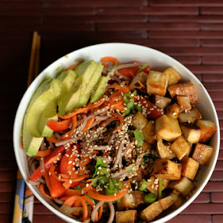Slivered Veggie and Soba Salad with Maple Tofu
