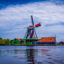 Windmill by Jurica Žumberac - Buildings & Architecture Other Exteriors ( water, sky, nature, blue, waterscape, outdoor, landscape, windmill )