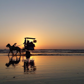 Perfect Shot  by Amit Shiravadekar - Instagram & Mobile Android ( water, orange, awesome, shadow, #perfectshot #sunset #transportation #sea #orange#lovelypic #pefectshot #awesomeshot#reflection #colors, horse, sea, sea bang, perfect pic )