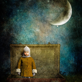 Night Traveler by Tina Bell Vance - Digital Art People ( fantasy, digital collage, moon, little girl, sky, cold, blue, suitcase, digital art, digital painting, surreal )