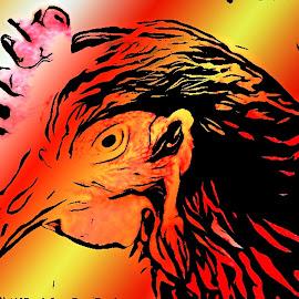 Hen Profile Sketch by Roxanne Dean - Abstract Patterns ( bird, chicken, beak, feathers, hen )