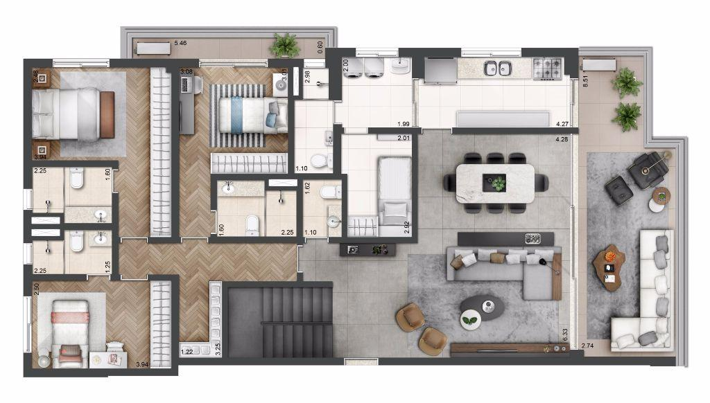 Planta Duplex Tipo - 307 m²