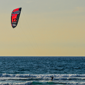 KITE by Robert Namer - Sports & Fitness Watersports ( watersports, surfing, afternoon, waterscape, sunset, kite, sports, sea, seascape, surf, golden hour, sea shore )
