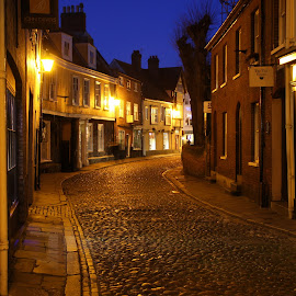 Elm Hill by Peter Jarvis - City,  Street & Park  Historic Districts ( norwich, night photography, street scene, elm hill, historic )