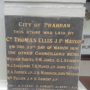 Located on Commercial Road, Prahran at the entrance to the Prahran Market Plaque Reads: City of Prahran This stone was laid by Cr. Thomas Ellis J.P. Mayor on the 25th day of March 1891 The other ...