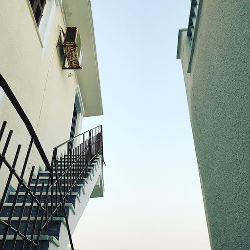 Staircase to heaven. Closed off. Sky view. Ch...