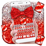 Red Glitter Bow Theme Icon