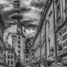 Downtown Bratislava by Adam Lang - City,  Street & Park  Street Scenes ( church, black and white, bratislava, street, city )