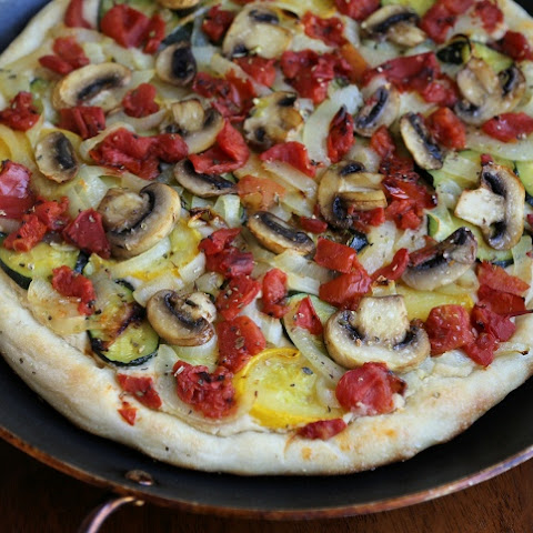 Vegan Roasted Vegetable Pizza with Cashew-White Bean Sauce