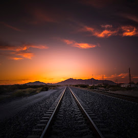 Pleasant Nightmare by Hoover Tung - Landscapes Sunsets & Sunrises ( crossing, concept, railroad, direction, line, road, landscape, transit, iron, nature, rail, path, train, perspective, light, track, journey, steel, traintrack, country, railway, locomotive, sunset, outdoor, beam )