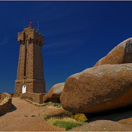 Red lighthouse by Blaž Ocvirk - Buildings & Architecture Other Exteriors ( red, stone, brittany, granite )