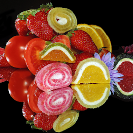 fruits,candys with flowers by LADOCKi Elvira - Food & Drink Fruits & Vegetables ( fruits )