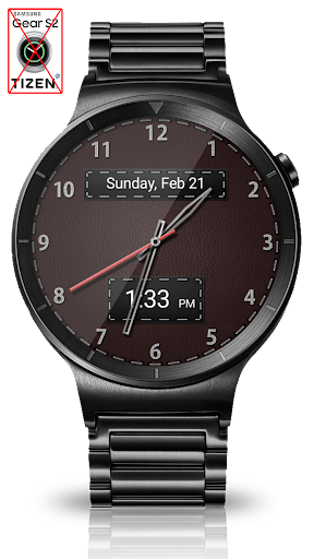 Black Leather HD Watch Face - screenshot