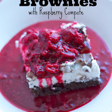 Double Chocolate Brownies with Raspberry Compote