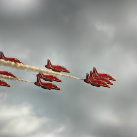 Reds edit 2 by Kelly Murdoch - Transportation Airplanes ( red arrows, uk, display, jets, smoke, ztam, flight, england, reds, red, sky, avaition, air, raf, jet, formation )