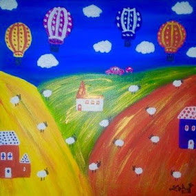 COLOURFUL BALLOONS by Zoritza  Wejnfalk - Painting All Painting ( naive art, church, sheep, zoritza, childrens art, balloons, zozo, wejnfalk )