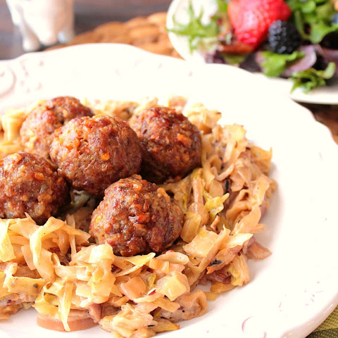 Dijon Pork Meatballs with Creamed Caraway Cabbage
