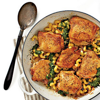 Crispy Chicken Thighs with Pasta and Pesto