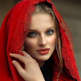 In the red by Cvetka Zavernik - People Portraits of Women ( red, beautiful, women, portrait, eyes )