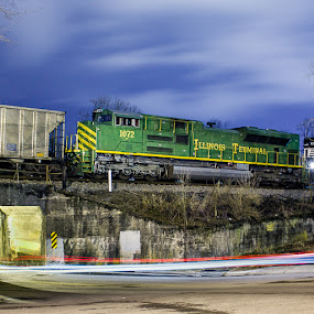 NS 1072 Illinois Terminal Heritage on 799 by Greg Booher - Transportation Trains ( locomotive, train, long exposure, night )