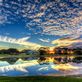 Texture Clouds by George Bloise - Landscapes Sunsets & Sunrises ( clouds, reflection, sunset, golf, lake )