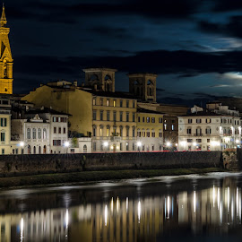 City on the Arno by Brandan McGuire - City,  Street & Park  Skylines ( clouds, reflection, skyline, moon, florence, builidng, night, long exposure, italy, river, city )