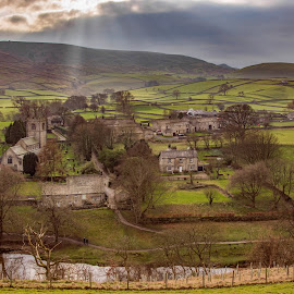 Burnsall Village by Darrell Evans - Landscapes Travel ( countryside, walking, stone, road, farm, sky, yorkshire, path, walkway, nikon, fields, water, clouds, uk, building, houses, church, grass, green, hils, yorkshire dales, burnsall, farming, rural, walls, d7100, trees, dry stone walls, wharfedale, river, #GARYFONGDRAMATICLIGHT, #WTFBOBDAVIS )