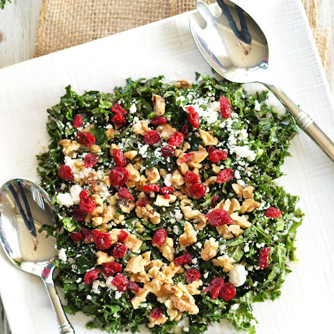 Chopped Kale Salad with Cranberries, Feta, and Walnuts