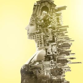 by Simion Tiberiu Stefan - Digital Art People ( love, story, double exposure, white, yellow, gray, women, black, portrait, city )