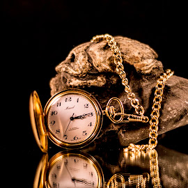 Pocket Watch and Rock by Greg Bennett - Artistic Objects Still Life