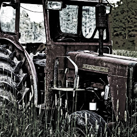 The old tractor by Jonas Lennartsson - Transportation Other ( field, old, parked, evening, tractor )