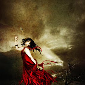i will follow you by Budie Deathlust - Digital Art People ( red woman dark butterfly )