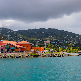 Across the Bay by Debbie Jones - City,  Street & Park  Vistas ( bay, st thomas, caribbean, virgin islands, crown bay )