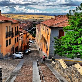 Town street by Francis Xavier Camilleri - City,  Street & Park  Street Scenes
