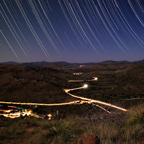 Nighttime Roadway by Jim O'Neill - Landscapes Starscapes ( fort davis, davis mountains, texas, long exposure, startrails )
