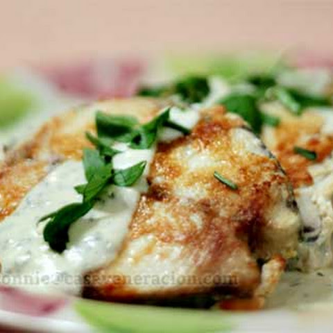 Fried Spanish Mackerel with Cheese Sauce