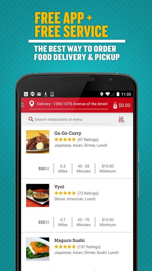 Seamless Food Delivery/Takeout Screenshot 0