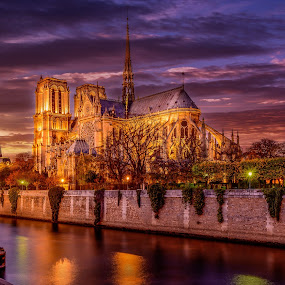 Notre Dame Sunset by Luis Silva - Buildings & Architecture Places of Worship ( paris, church, notre dame, sunset, 2015, canal, historic )