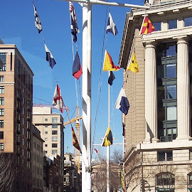Navy Memorial by Sandy Stevens Krassinger - City,  Street & Park  Historic Districts ( statue, flags, buildings, monument, historical )