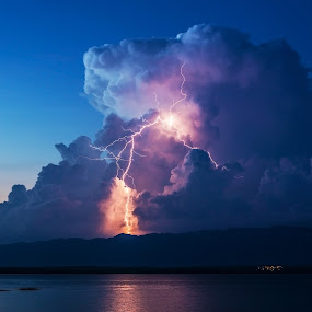 Bolt out of the blue by Ivan Stulic - Landscapes Weather ( lightning, thunderstorm, cumulonimbus, weather, cloud )