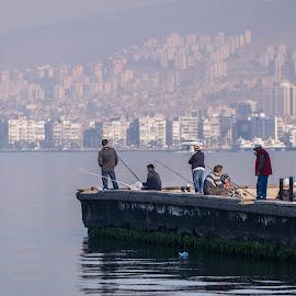 Relaxing morning by Grigoris Koulouriotis - People Street & Candids ( fishermen, sea, turkey, fishing, morning, relaxing, street photography, izmir,  )