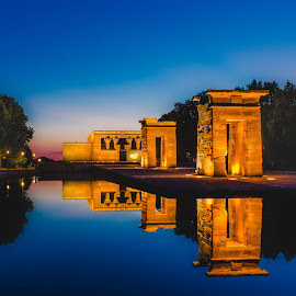 by Nupur Agrawal - Buildings & Architecture Statues & Monuments ( temple of debod, orange, madrid, beautiful )